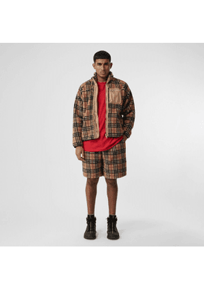 Burberry Vintage Check Faux Shearling Drawcord Shorts, Beige
