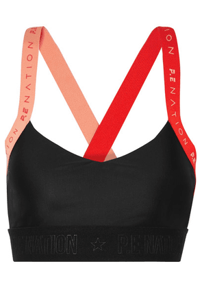 P.E NATION - Overshot Color-block Stretch Sports Bra - Black