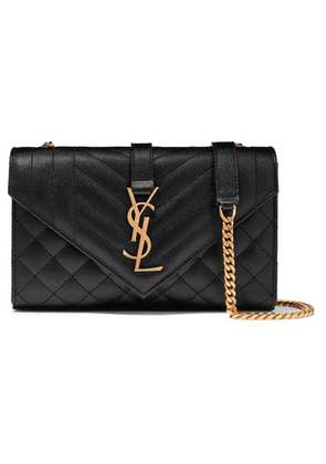 SAINT LAURENT - Envelope Small Quilted Textured-leather Shoulder Bag - Black