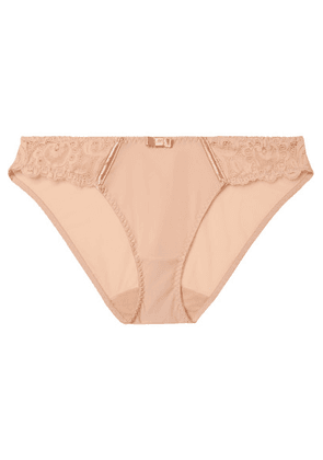 Maison Lejaby - Gaby Satin-trimmed Stretch-jersey And Lace Briefs - Blush