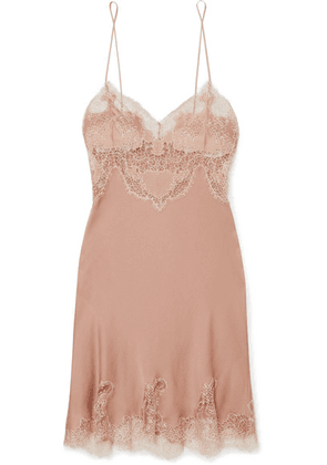 Carine Gilson - Egerie Chantilly Lace-trimmed Silk-satin Nightdress - Antique rose