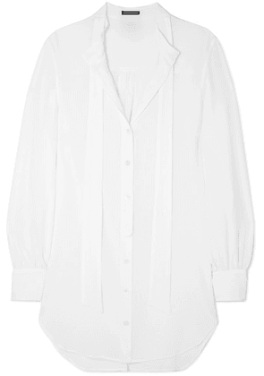 Ann Demeulemeester - Oversized Tie-neck Cotton Shirt - White