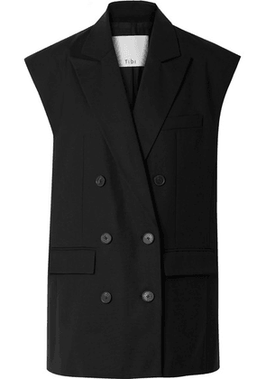 Tibi - Tropical Double-breasted Crepe Vest - Black