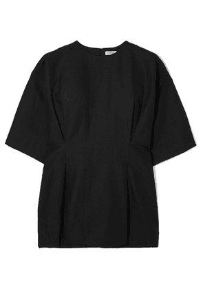 Totême - Loano Pleated Cotton And Linen-blend Top - Black