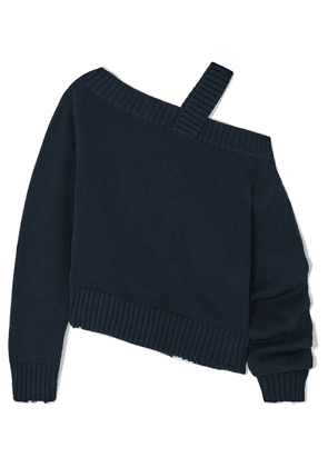 RtA - Beckett Asymmetric Off-the-shoulder Cotton Sweater - Navy