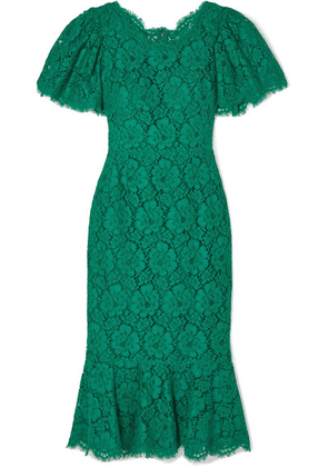 Dolce & Gabbana - Ruffled Corded Lace Midi Dress - Green