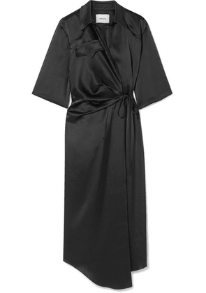 Nanushka - Satin Wrap Dress - Black