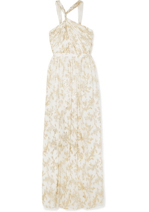 Rachel Zoe - Bella Twisted Metallic Fil Coupé Chiffon Gown - Ivory