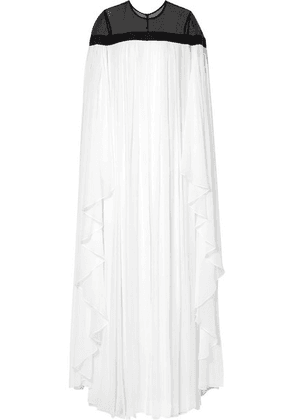 Carolina Herrera - Ruffled Grosgrain-trimmed Silk-chiffon Gown - White