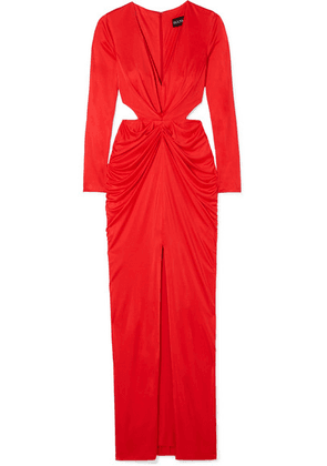 Haney - Sara Cutout Draped Satin-jersey Dress - Red
