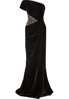 92a7280a Marchesa - One-shoulder Embellished Tulle-paneled Velvet Gown - Black