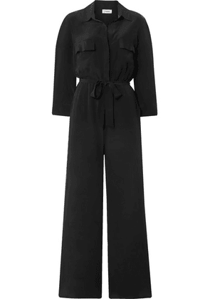 L'Agence - Teddy Belted Washed-silk Jumpsuit - Black