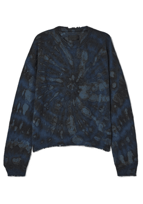 RtA - Emma Distressed Tie-dyed Cashmere Sweater - Navy