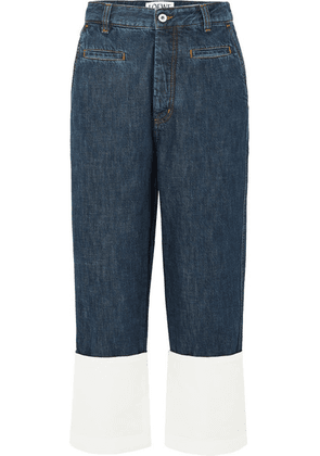 Loewe - Fisherman Cotton Poplin-paneled Cropped Boyfriend Jeans - Blue