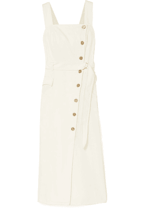 Nanushka - Moun Belted Denim Wrap-effect Midi Dress - White