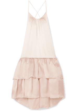 Silvia Tcherassi - Angelique Tiered Silk-blend Satin And Organza Maxi Dress - Blush