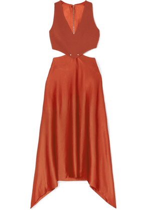 Dion Lee - Embellished Cutout Cady And Satin Dress - Copper