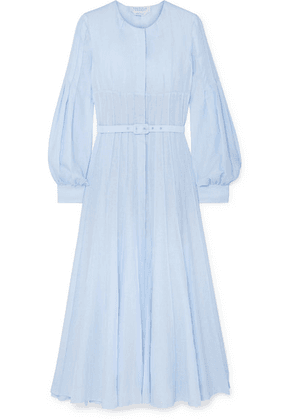 Gabriela Hearst - Gertrude Belted Linen Midi Dress - Light blue