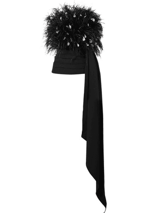 Oscar de la Renta - Strapless Draped Feather-embellished Tulle And Ruched Wool-blend Top - Black
