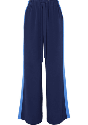 Diane von Furstenberg - Ellington Striped Silk-crepe Wide-leg Pants - Navy
