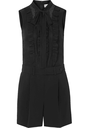 REDValentino - Tuta Ruffled Crepe, Silk Crepe De Chine And Point D'esprit Tulle Playsuit - Black