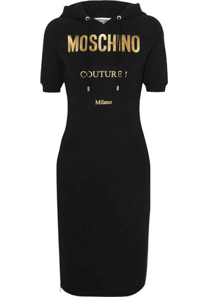 Moschino - Hooded Metallic Printed Cotton-blend Jersey Dress - Black