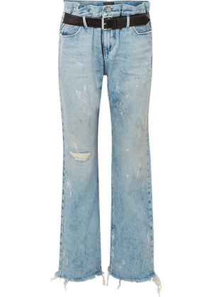 RtA - Dexter Belted Distressed High-rise Straight-leg Jeans - Light denim