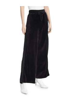 Liya Wide-Leg Velour Snap-Up Track Pants