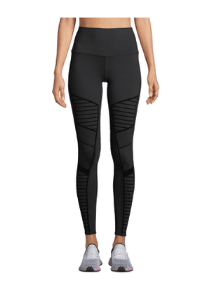 Flocked High-Waist Moto Leggings