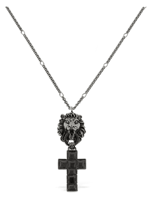Lion Head & Crucifix Enameled Necklace