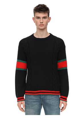 Wool Cable Knit Sweater W/web Detail
