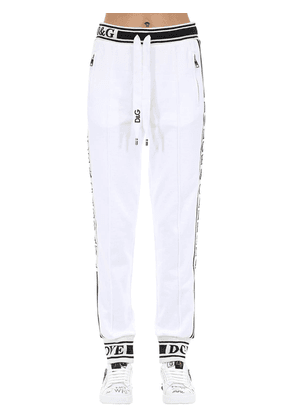 Cotton Jersey Track Pants W/side Bands