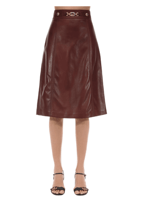 Leather Skirt W/ Gg Buckle