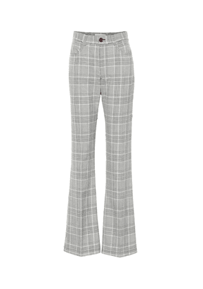 Checked high-rise wide-leg pants