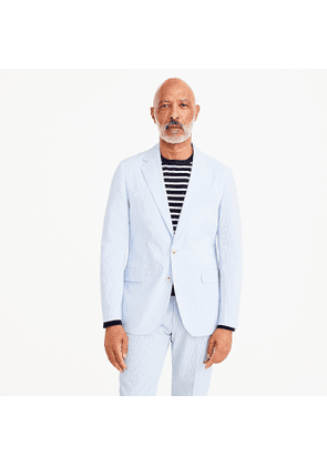 Ludlow Slim-fit unstructured suit jacket in blue seersucker