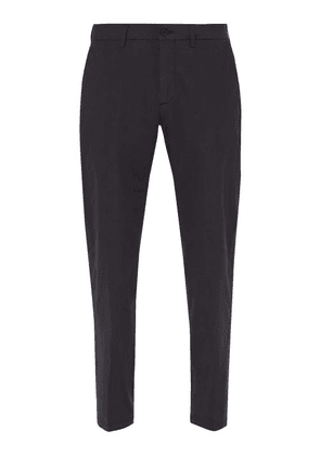 Dunhill - Straight Leg Cotton Blend Chino Trousers - Mens - Navy