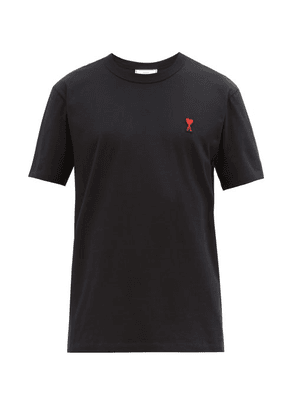 Ami - Logo Embroidered Cotton Jersey T Shirt - Mens - Black