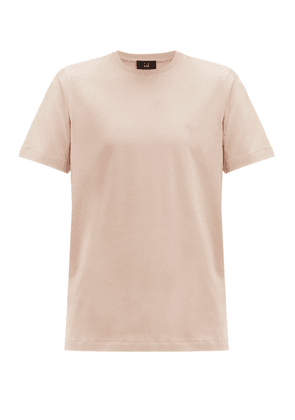 Dunhill - Embroidered Monogram Cotton Jersey T Shirt - Mens - Pink