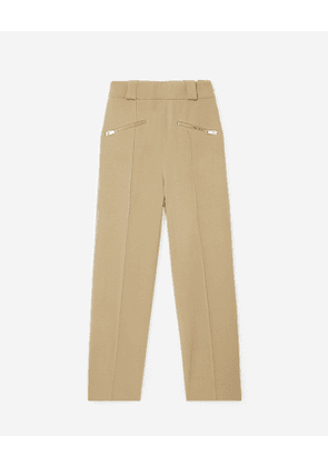 The Kooples - beige wool flared trousers with belt - bei