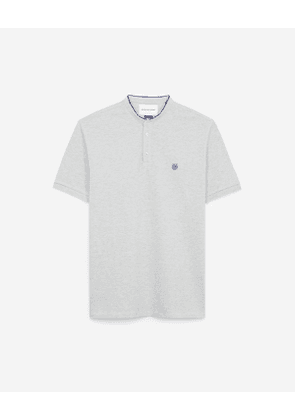 The Kooples - embroidered grey polo shirt with stand-up collar - light grey mel
