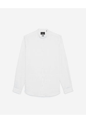 The Kooples - collarless white shirt with pearly buttons - white