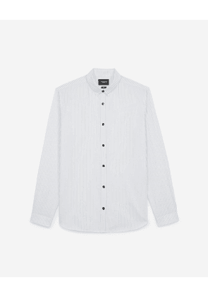 The Kooples - white cotton slim-fit shirt with stripes - white