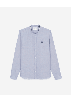 The Kooples - white shirt in cotton with officer collar - nav