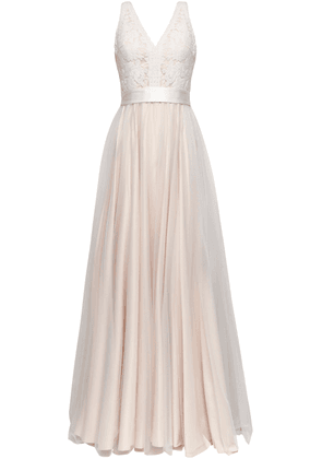Catherine Deane Pleated Guipure Lace And Tulle Bridal Gown Woman Blush Size 8