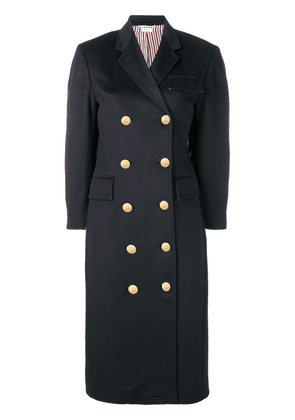 Thom Browne Zibeline Finish Navy Overcoat - Blue