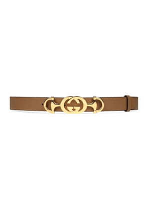 Leather belt with Interlocking G Horsebit
