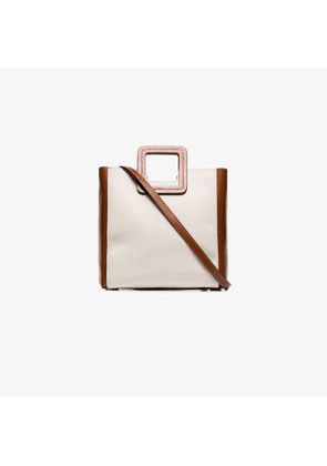 Staud brown and white Shirley canvas leather tote