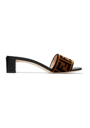 Fendi - Logo-print Velvet And Leather Mules - Brown