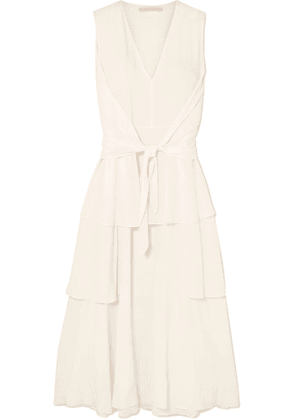 Stella McCartney - Ruffled Tiered Silk Crepe De Chine Midi Dress - Ivory