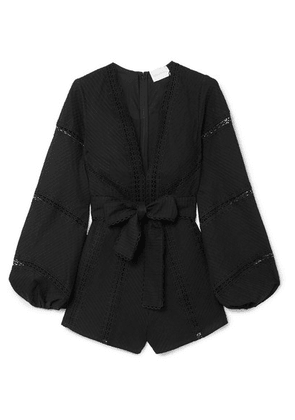 alice McCALL - A Foreign Affair Crochet-paneled Pintucked Cotton Playsuit - Black
